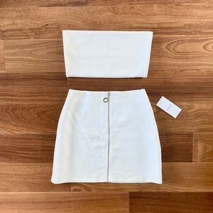 White crop top skirt CO ORD matching set 2 pc LF